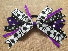 Custom Team Colors Soccer Hair Ties, Soccer Hair Bow, Soccer Ribbons, Purple and Black Soccer Sport Hair Bow by SunshineandBling on Etsy