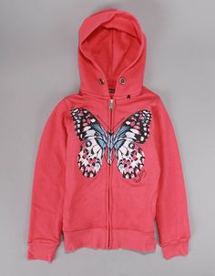 Replay printed black butterfly zip up hoody in bright pink with pastel pink and purple detail. Pink Accents, Junior Outfits, Replay, Off Duty, Pastel Pink, Butterfly, Zip, Logo, Hoodies