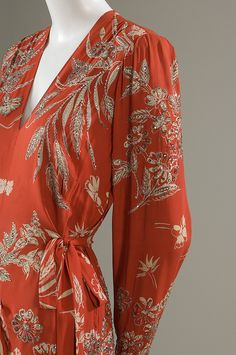 New York Dress Institute, evening dress, red rayon with rhinestones  and beads, 1940, USA
