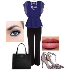 Navy and black casual work   http://workoutfitstyles.blogspot.com