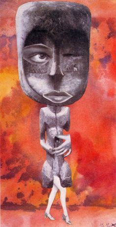Hannah Höch, « Die Süße » (La Douce), série « Aus einem ethnographischen Museum » (issu d'un musée ethnographique/ From an ethnographic Museum ), 1926. Photomontage et papier aquarellé, 30 X 15 cm. Collection Museum Folkwang, Essen.