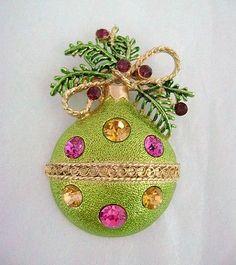 Vintage Rhinestone Christmas Ball Ornament Pin