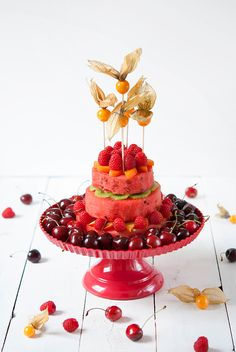 Courtesy of: Melonentorte Red Fruit. Cherries. Raspberries. Watermelon. A beautiful way to display and serve fruit. Food Photography. Fruit Photography.