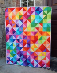 Made to Order Rainbow Quilt Modern Lap Quilt Twin Queen Quilting Projects, Quilting Designs, Rainbow Quilt, Half Square Triangle Quilts, Quilt Modernen, Colorful Quilts, Quilts For Sale, Custom Quilts, Barn Quilts