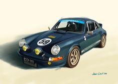 A friend's sparkling Porsche 911. Painting by Jonas Linell 2016 #classiccar #vintagecars #racecars #racing #cars #carart #Porsche #Porsche911 #art #painting