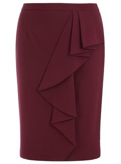 I love the vertical ruffle on this berry pencil skirt, makes it a good skirt for day or night time wear.  In sizes up to Eu 50/US 3X from dorothyperkins.com