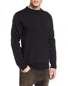 Diesel Crewneck Sweatshirt with Zip Detail Black | Activewear, Pullovers, Sweater and Clothing