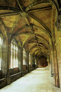 Cloister within Chester Cathedral,  romanesque in the older parts with the later ones showingtypical Gothic features.