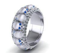 Skull wedding band with diamonds by adamfosterjewelry on Etsy