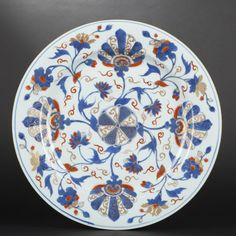 Large porcelain platter with Imari decoration of Buddhist wheel and flower…