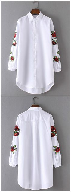 White Floral Embroidery Loose Shirt. This is a nice way to make a white shirt pop.