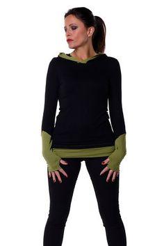 gothique femme pull - Sweat-shirt à Capuche avec poignets - gothic streetwear style manches longues, noir vert L