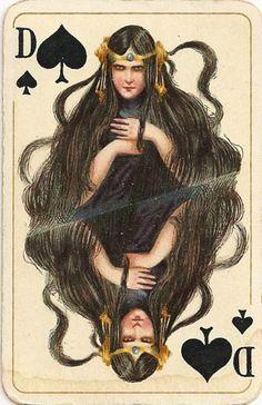 German Deck, early 1900's. Queen of Spades.