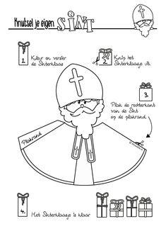 Gratis te downloaden om zelf te printen en maken. St Louis, Saint Nicolas, Religion, Diy For Kids, Create Yourself, Coloring Pages, Activities For Kids, Christmas Crafts, Kindergarten