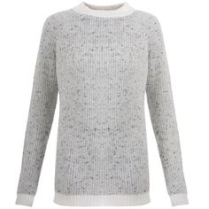 Chunky Cashmere Sweater in Speckled White & Grey   Orwell + Austen Cashmere   Wolf & Badger / / New to Orwell + Austen is the chunky fisherman style cashmere sweater in speckled white with light grey trim. Made from a thick ply cashmere yarn, makes this sweater the perfect style for colder winter evenings. The brand works very closely with a small family run factory in Nepal, a region renowned for some of the finest quality cashmere in the world, to produce all its luxury cashmere sweaters.