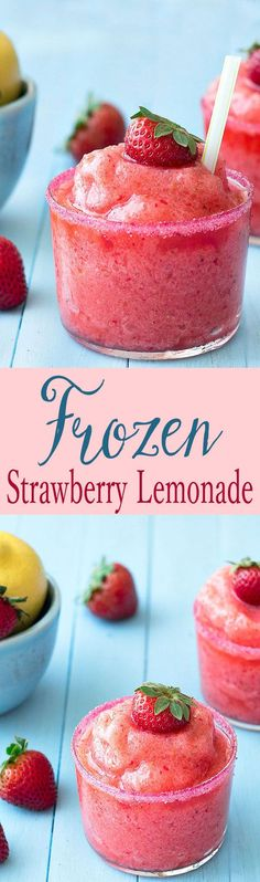 This frozen strawberry lemonade is so easy to make, full of fresh strawberries a. This frozen strawberry lemonade is so easy to make, full of fresh strawberries and tart lemons. Not too sour or too sweet, just perfect! Frozen Strawberry Lemonade, Frozen Strawberries, Strawberry Smoothie, Strawberry Summer, Frozen Fruit, Strawberry Recipes, Frozen Apple, Cantaloupe Recipes, Strawberry Drinks