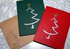 weihnachtskarten basteln papier weihnachtsbaum zeichnen