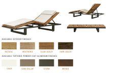 Poolside chaise lounge, option #2, natural teak, bronze non textured aluminum finish. Peninsula, $4,450.
