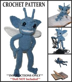 Crochet your own Trix the Pixie with this pattern! While their most recent celebrity status was being featured in recent films and childrens books, the Cornish Pixie has ancient origins in folklore and mythology. It is believed that the high moorland areas around Devon and Cornwall is their original home. Pixies love to sing and dance and often gather outdoors in huge numbers to frolic through the night. They are sly, tricky and mischievous, always looking for trouble. They enjoy playing…