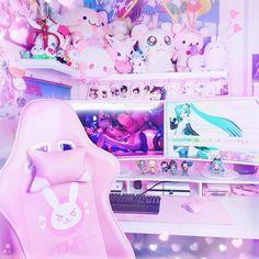 kawaii room diy My dream room - - Ideas of - roomdiy Deco Gamer, Kawaii Games, Kawaii Diy, Home Music, Kawaii Bedroom, Gaming Room Setup, Gaming Chair, Gaming Rooms, Game Room Design