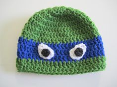 TUTORIAL - Crochet TMNT Hat ... I love this pattern, can't wait to make it