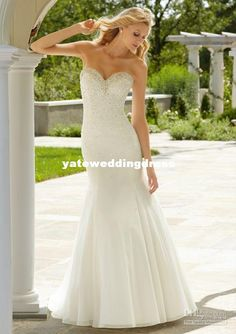 NyWholesale Destination Mermaid Sweetheart Crystals Chiffon Wedding Dress Strapless, Free shipping, $176.96/Piece | DHgate