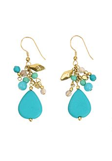 Trades of Hope - Teardrops in turquoise and smaller beads in gold, blue, and green create these  show-stopping 2-inch-drop earrings. Wear them alone or with the matching necklace.
