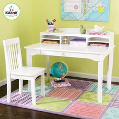 KidKraft - Avalon Desk Set with Hutch and Chair, White