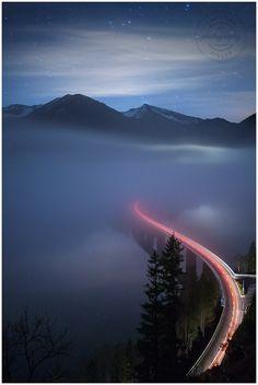 Sylvenstein Foggy Night (Bavaria, Germany)  © Christian Ringer
