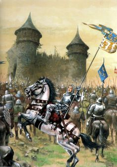 Jeanne d'Arc and the French army besieging an English castle, Hundred Years War.