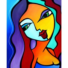 Abstract painting Modern pop Art original large Woman Canvas Print by... ($274) ❤ liked on Polyvore featuring home, home decor, wall art, chicago painting, outdoor sculpture, woman painting, outdoor paintings and guitar wall art