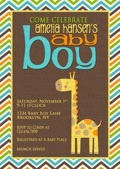 baby boy shower invitation jungle safari by BlueFenceDesigns