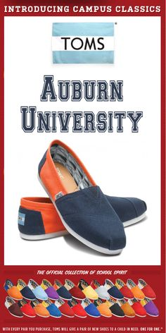 TOMS Shoes Auburn University Campus Classics - One for One  Heather!!!!