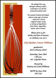 new chef culinary graduation announcements and invitations with cooking whisk for graduate commencements and graduating ceremonies at GraduationCardsShop, our card number 7638GCS-LM, with freebies, discounts, incentives, and other special promos