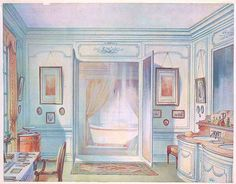 """1907 """"Louis Quinze"""" retrofitted bathroom  illustration by Georges Remon"""