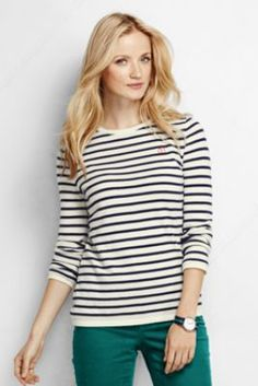 Women's Classic Cashmere Stripe Tee Sweater from Lands' End $169
