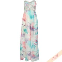 Pastel Chiffon Sequin Gem Embellished Maxi Dress Prom Party Gown Bridesmaid 9120