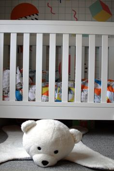 Colourful Toddler Bedroom Makeover including this polar bear rug!
