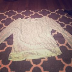 Size M. PINK Mint Green. Lace long sleeve shirt 100% Nylon. Lace see through long sleeve shirt. Size M. Victoria Secrets PINK. Mint color. No tears rips or stains. Light and comfy. Can dress it up or down. No pets or smoke in the house. PINK Victoria's Secret Tops