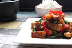 Pork belly with green beans and red curry - Fish come from the sky Stir Fry Pork Belly, Fried Pork Belly, Beans Curry, Quick Stir Fry, Gluten Free Rice, Easy Food To Make, Pork Loin, Food Print, Green Beans