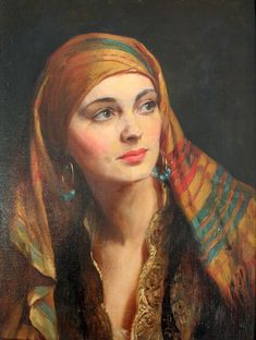 `A beauty of the Orient` by Albert Henry Collings RBA Classic Paintings, Old Paintings, Renaissance Paintings, Renaissance Art, Arte Fashion, Classical Art, Old Art, Woman Painting, Portrait Art