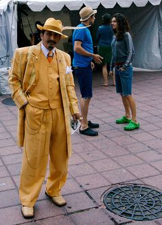 Zoot suit ... Wow the crocs ruin this picture, what a clash of style and absolutely no style.