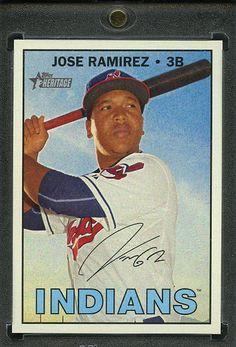 2016 Topps Heritage High Number Baseball 1/1 Blank Back. Jose Ramirez INDIANS