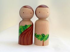 Adam and Eve Peg Dolls  the Bible Collection by PeggedByGrace