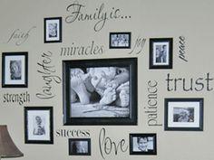 ¡Esta es una excelente idea para decorar tu pared con fotos y quotes!  Si quieres imprimir fotos sobre padrísimos materiales entra a nuestra página y nosotros nos encargamos de enviártelas listas para colgarse :D -> www.insta-arte.com.mx