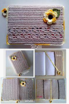 Rose Oliveira - Blog Tecendo Artes: Capa para Agendas ou Livros e Cadernos! Crochet Ipad Cover, Crochet Case, Crochet Books, Crochet Purses, Love Crochet, Crochet Gifts, Knit Crochet, Bible Covers, Yarn Thread