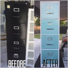 DIY file cabinet makeover!  Materials used:  Spray gun Screw driver  White oil paint Aqua turquoise Rustoleum spray paint Pearlized teal Rustoleum paint  4 new handles silver handles