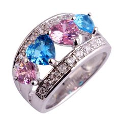 Psiroy Stunning Created Gorgeous Women's 5mm*5mm Heart Cut Pink & Blue Topaz Filled Ring