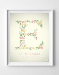 "This lovely personalized initial ""R"" print will make a perfect decoration for a child's bedroom or nursery. Custom wall art prints and posters by Inkist Prints!"
