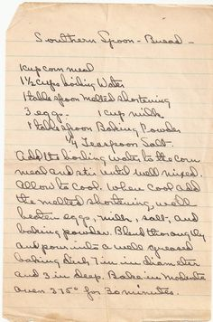 A corn meal spoon bread recipe from the south, this vintage handwritten recipe shares a quick to make bread.